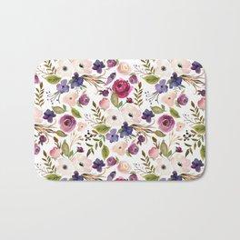 Violet pink yellow green watercolor modern floral pattern Bath Mat
