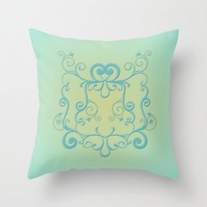 Mint tendrils emblem Throw Pillow