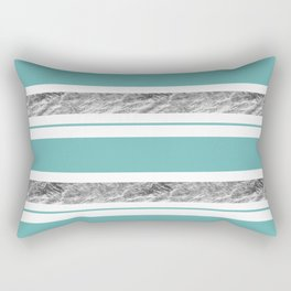 Aqua Blue Stripe with Silver Rectangular Pillow