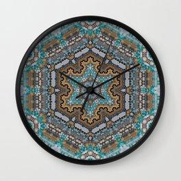Aqua, Gold and Blue Tile 3 Wall Clock