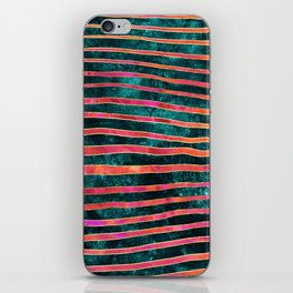 Pattern Play / Stripes on deep turquoise iPhone Skin