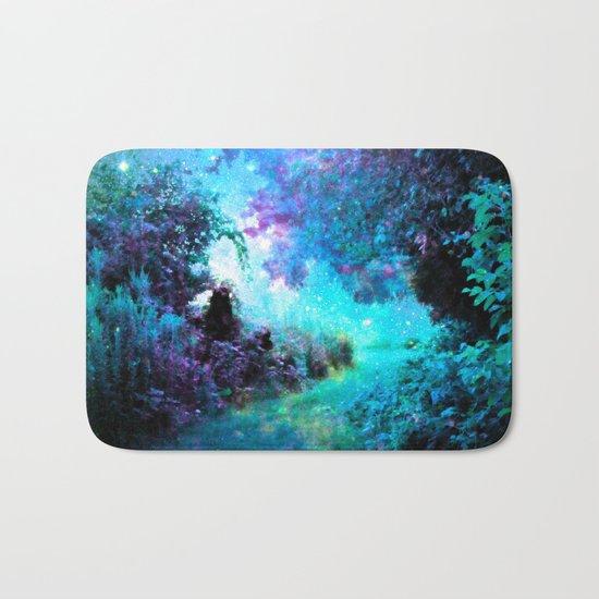 Fantasy Garden Path Turquoise Purple Bath Mat