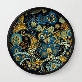 Khokhloma floral pattern Wall Clock