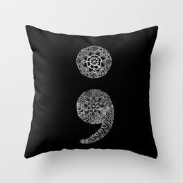 Patterned Semicolon: White on Black Throw Pillow