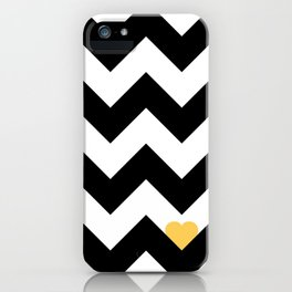 Heart & Chevron - Black/Yellow iPhone Case