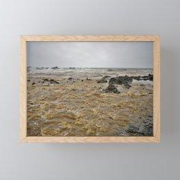 BOILING STORM FLOOD WATER DUCKPOOL BEACH CORNWALL Framed Mini Art Print