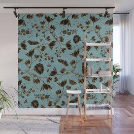 Orchid Owl Verdigris Wall Mural