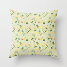 Floral Lemonade Throw Pillow