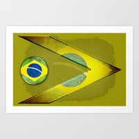 brasil Art Prints featuring Brasil by ilustrarte