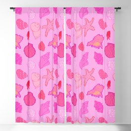 Simply Seashells Toss in Tonal Pink Blackout Curtain