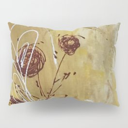 Yellow Tan Spring Abstract Flowers. Jodilynpaintings. Abstract Floral Pillow Sham