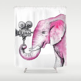 Filming Pink Elephant Shower Curtain
