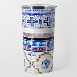 Blue and White LisbonTiles in the Alfama, Portugal Travel Mug