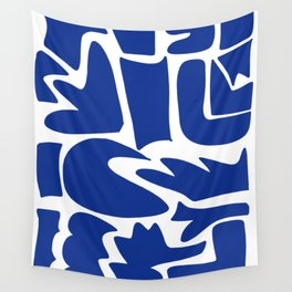 Blue shapes on white background Wall Tapestry