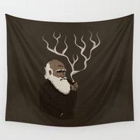 darwin Wall Tapestries featuring Darwin ponders evolution by science fried art