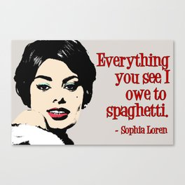 Sophia Loren (red text, grey background) Canvas Print
