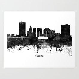 Toledo Black White Named Skyline Art Print