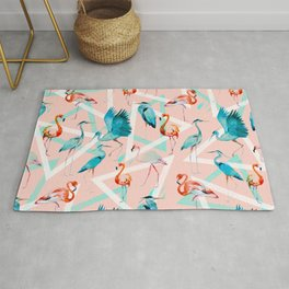 Pattern flamingos & triangles Rug