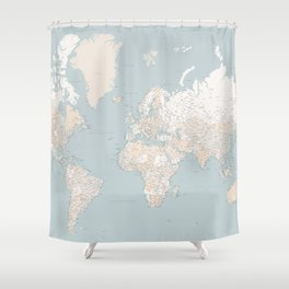 "Muted colors highly detailed world map, ""Tiara"" Shower Curtain"