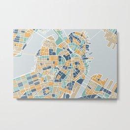 Navy and gold Boston map Metal Print