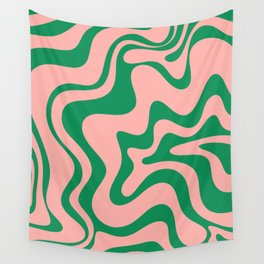 Liquid Swirl Retro Abstract Pattern in Pink and Bright Green Wall Tapestry