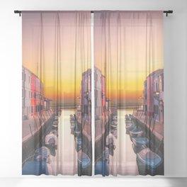 Venice Italy Boats Sunset Photography Sheer Curtain