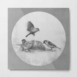 Parisian Sparrows  Metal Print
