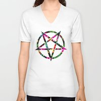 pentagram V-neck T-shirts featuring Pentagram by YEAH RAD STOKED