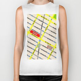 New York map design - empire state building area Biker Tank