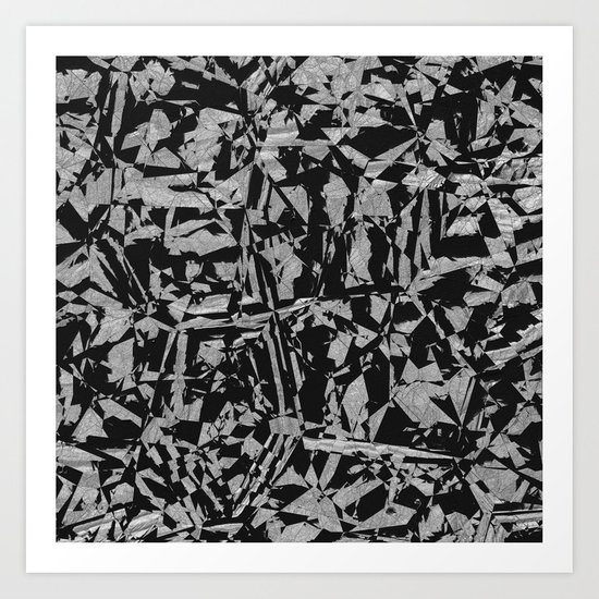 Black - Silver - Crazy Art Print