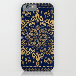 Oriental Damask Ornament - Gold on dark blue #3 iPhone Case