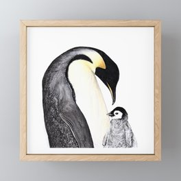 Emperor Penguin with Baby Framed Mini Art Print