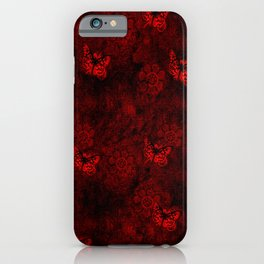 Red Butterfly Garden iPhone Case