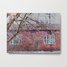 Brick Exterior with Lights Metal Print