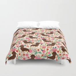 Doxie Florals - vintage doxie and florals gift gifts for dog lovers, dachshund decor, chocolate and Duvet Cover