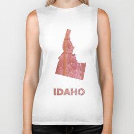 Idaho map outline Crimson red nebulous wash drawing Biker Tank