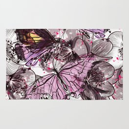 Butterflies and flowers Rug
