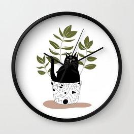 Cat Plant Wall Clock