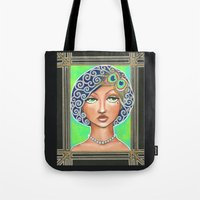 great gatsby Tote Bags featuring Great Gatsby by Jaymee Laws