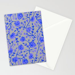 Watercolor Peonies - Cobalt Blue Stationery Cards
