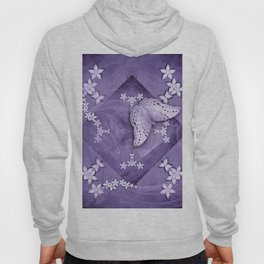Flowers and butterfly with swirling fractal Hoody