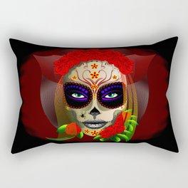 Skull Girl Dia de los Muertos Portrait Rectangular Pillow