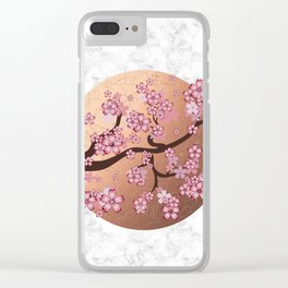 Blooming Sakura Branch on marble Clear iPhone Case