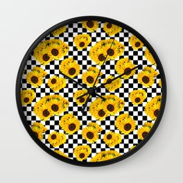 Yellow Sunflower Floral with Black and White Checkered Summer Print Wall Clock