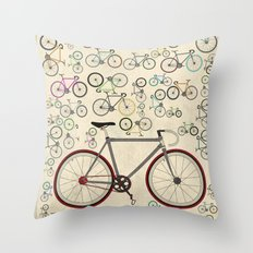 Love Fixie Road Bike Throw Pillow