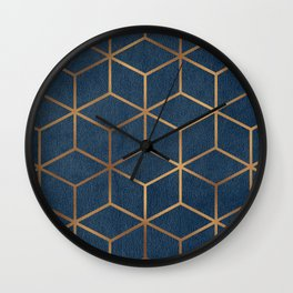 Dark Blue and Gold - Geometric Textured Cube Design Wall Clock
