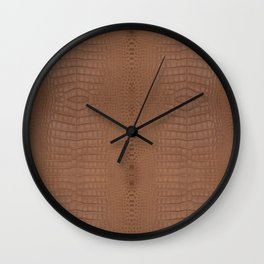 Brown Alligator Print Wall Clock
