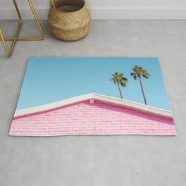 Pink House Roofline with Palm Trees (Palm Springs) Rug