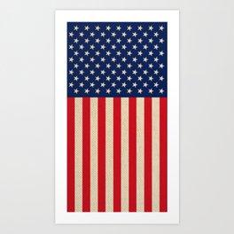 USA faux burlap flag Art Print