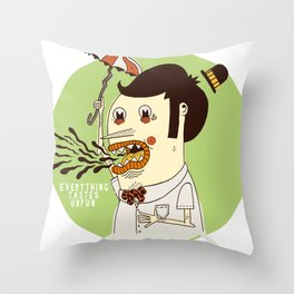 Everything Tastes Unfun Throw Pillow
